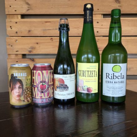 We also have a nice selection of ciders. From un-carbonated Basque Sidra, that are tart and funky, to Champagne-like French Cidre, to fun sweet ciders made here in America.